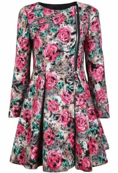 Green Red Long Sleeve Zipper Floral Ruffle Dress pictures