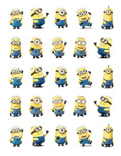 "Despicable Me Minions Printable Party approx. 1.5"" height. Cutouts for Cupcakes, Favors, Toppers, Stickers..."