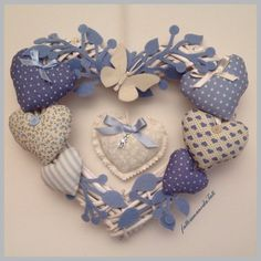Crown / bow birth 8 blue hearts with butterfly – Typical Miracle Sewing Crafts, Sewing Projects, Patchwork Heart, Fabric Hearts, Wicker Hearts, Heart Wreath, Heart Crafts, Felt Ornaments, Baby Decor