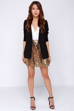 Trendy holiday outfits new years eve sparkly skirt 15 Ideas Sequin Skirt Outfit, Gold Sequin Skirt, Sparkly Skirt, Gold Outfit, Sequin Jacket, Navy Jacket, Gold Sequins, Nye Outfits, Holiday Outfits