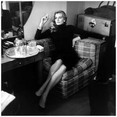 17th November 1955 Swedish actress Anita Ekberg relaxes with a cigarette in London. (Photo by Bob Haswell:Express:Getty Images