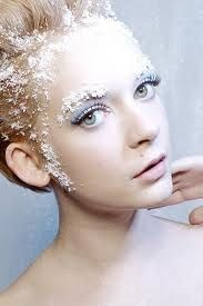 Winter: snowy makeup, frosted eyebrows and hairline