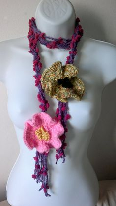 New Lariat  Freeform crochet with two big flowers  by ethnicdesign,Ready to Ship  $21.00 https://www.etsy.com/listing/108417100/new-lariat-freeform-crochet-with-two-big?ref=v1_other_2