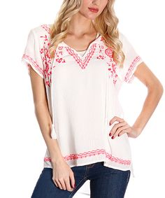 Look at this White & Red Embroidered Notch Neck Top on #zulily today!