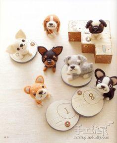 太可爱了,羊毛毡狗狗家族 Cute Needle felted dogs