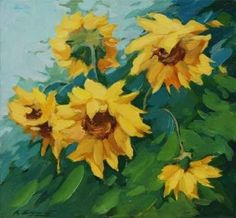 """Field with Sunflowers Drawn on a Canvas Oil, Illustration, Pain - 18""""W x 17""""H - Peel and Stick Wall Decal by Wallmonkeys"""