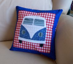 Patriotic (Red, White and Blue) VW Bus Pillow/Cushion. $25.00, via Etsy.
