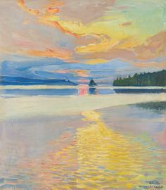 (ok, a lake painting) Akseli Gallen-Kallela (Finnish - Sunset Over Lake Ruovesi Abstract Landscape, Landscape Paintings, Sunset Landscape, Kunst Online, Nordic Art, European Paintings, Art History, Modern Art, Art Photography