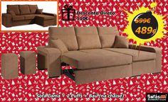 Um Sofá com TUDO: Cuba só 489€ Cama, 2 puffs, chaise elevatória e um desconto de 110€ www.natal.sofasbombasticos.com