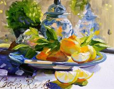 LEMONS+AND+DELFT+Art+Print+of+Original+Oil+by+CECILIAROSSLEE,+$20.00