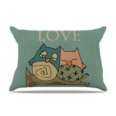 East Urban Home Lechuzas Love by Carina Povarchik Owls Cotton Pillow Sham