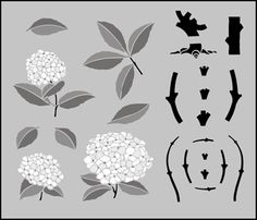 Chinese Style Hydrangea stencils, stensils and stencles
