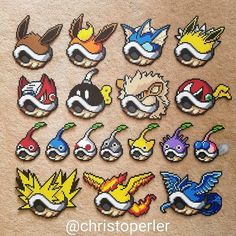 Pyssla Pokemon, Pokemon Perler Beads, Diy Perler Beads, Perler Bead Templates, Perler Patterns, Perler Bead Mario, Pokemon Cross Stitch, Peler Beads, Melting Beads