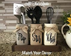$42 · This listing is for a Kitchen Combo Set of Salt and Pepper Shakers and Soap Dispenser with Sponge Holder!! Very cute for gifting! This is sure to be loved and add that perfect rustic and farmhouse charm to your kitchen ♥ You can get the colors to match your decor!!! You can choose the colors for it all!! Specs: -set of 3 oz salt and pepper shaker farmhouse style (hand painted--no stickers or vinyl, distressed, adorned with twine, and sealed with protection) -black painted S and..
