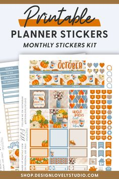 Grab these FALL Planner Stickers for Erin Condren! #erincondrenplannerstickers #fallplannerstickers Cute Planner, Planner Layout, Monthly Planner, Happy Planner, Planner Decorating, Printable Planner Stickers, Erin Condren Life Planner, October, Cricut