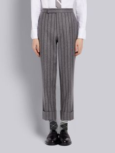 $1290.0. THOM BROWNE Pant Thom Browne Medium Grey Ground Chalk Stripe Wool Flannel Classic Trouser #thombrowne #pant #knit #wool #clothing