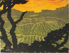 "Sakamoto, Isamu Den'en tasogare (田園タ昏) - Pastoral landscape at dusk Paper size: 51.5 x 39.5 cm., self-printed in 1971. Signed and dated in white ink, artist's seal reading ""Sakamoto Isamu"" bottom left. Saru Gallery - Japanese prints and japanese paintings"