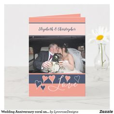 Wedding Anniversary coral and navy with name Card Wedding Anniversary Greeting Cards, Happy Anniversary, Name Photo, Photo S, Custom Greeting Cards, Name Cards, Holiday Photos, Thoughtful Gifts, Love Heart