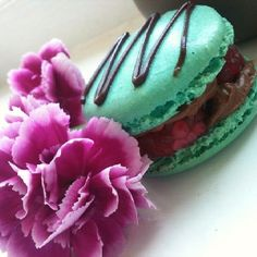 Blue raspberry macaron, filled with dark chocolate ganache =)
