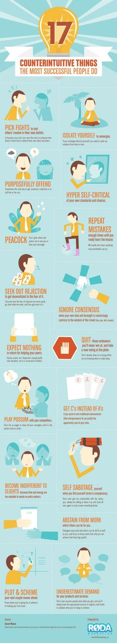17 Counterintuitive Things The Most Successful People Do #infographic