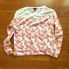 Pretty Floral Sweater Lightweight sweater / long sleeve top. Lace on front and back. Gold studs on lace trim  Forever 21 Tops
