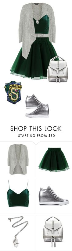 """House Pride Fashion: Slytherin for Fall"" by mary-janeglitters ❤ liked on Polyvore featuring Dorothy Perkins, Chicwish, Topshop, Converse and Pamela Love"