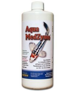 Aqua MedZyme Liquid 1 Gallon . $104.95. Permanently reduces ALL strains of deadly ulcer causing Aeromonas, Pseudomonas in your pond by starving them to death. Can be stored for two years at room temperature or 3 years if kept refrigerated. Formula has been tested extensively in Koi Ponds, Commercial Aquaculture Applications, Private Veterinary laboratories and University Studies. There are many more ponds in the US that will maintain a 68 degree or under water temperature...
