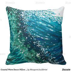 Coastal Wave Decor Pillow by Margaret Juul