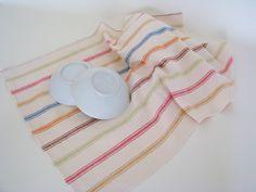 striped cotton kitchen towel, linen tea towel, handwoven towel, bread cloth, dish towel, cream towel, handwoven towel, farmhouse by ThreadandWoodCrafts on Etsy