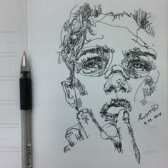 pen sketch, portrait illustration, loose inking