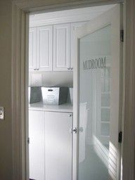 'frosted' glass door with Mudroom title to separate the mudroom/laundry from the kitchen. Need for my laundry room. Frosted Glass Interior Doors, Frosted Glass Door, Glass Doors, Door Design, House Design, Laundry Room Doors, Young House Love, Storage Cabinets, Utility Cabinets