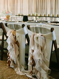 Ruffled flowy chair treatments.  Photo by Josh McCullock Photography. www.wedsociety.com  #wedding #chairs