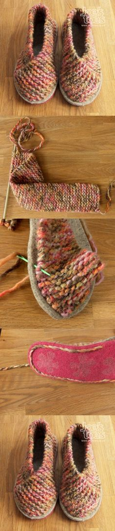 How to make knitted slippers by attaching a long garter-stitched rectangle strip to a felted sole. Interesting approach to pattern with a vaguely Asian flair. from JoesToes in the UK