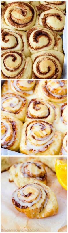 Fluffy Cinnamon Rolls with sweet orange glaze. Copycat Pillsbury recipe! These are amazing.