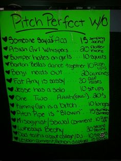 Pitch Perfect Workout.... THIS WILL KILL YOUR LEGS!! Also run while they sing adds some cardio :) SO WANNA DO THIS!