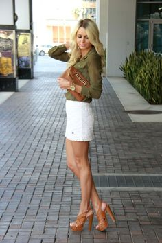 Spring Attire | White lace skirt | army green blouse | caramel heels | caramel clutch | Fashion Blogger