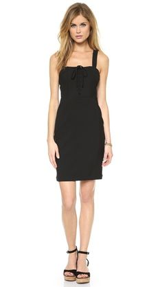 The perfect little black dress for summer. We love the bustier lace-up styling up the front.