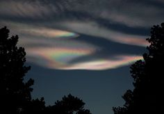 """Sometimes this phenomenon is mislabeled as """"Northern Lights"""", but mother-of-pearl clouds are known as nacreous clouds. They form at high altitudes- 15 miles above sea level, so even after the sun has set, the clouds are high enough to still be illuminated by the sun. They are commonly seen in the polar regions, but this image was captured in Colorado by Richard Hahn."""