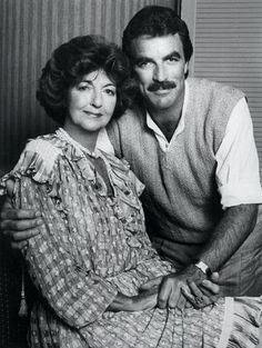 Tom poses with his mother, Mrs. Martha Selleck, 1987.