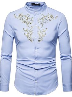 Men's Floral Shirt Basic Long Sleeve Daily Slim Tops Standing Collar White Black Wine / Spring / Work 2021 - Can $34.14 Cheap Mens Shirts, Mens Shirts Online, Casual Shirts For Men, Casual Tops, Men Casual, Men Shirts, Shirt Men, Camisa Tribal, Long Sleeve Shirt Dress