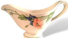 Villeroy & Boch Gravy Boat, Amapola, Poppies, Vitro Porcelain, Large Gravy Bowl Server, Germany, Blue Orange Flowers