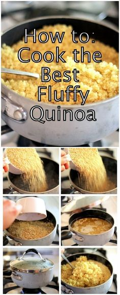 How to: Cook the Best Fluffy Quinoa {plus recipes!} - - How to: Cook the Best Fluffy Quinoa {plus recipes!} Food How To Cook The Best Fluffy Quinoa ~ Plus delicious quinoa recipes you must try! Healthy Cooking, Healthy Snacks, Healthy Eating, Cooking Recipes, Cooking Tips, Cooking Classes, Cooking Bacon, Cooking Games, Vegetarian Recipes