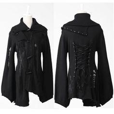 Women Black Long Sleeve Emo Gothic Sweater Jackets Coats Clothing SKU-11411030