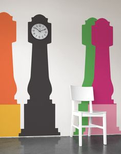 The grand daddy of them all! Mix or match? The Grandfather Clock decal comes with an extra base in a complimentary color so you can express yourself with a playful two color combination or a stylish monochromatic look. Save the unused base in case you decide you want to switch it up. Please note: real clock is not included.Grandfather Clock was designed by by:AMT for Studio Jan Habraken.
