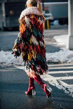 Shag fur or knit fringe coat. street style