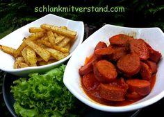 Currywurst – Pommes (low carb) Einfach köstlich schmecken die selbstgemachten Pommes. Nach so einem Essen ist die Lust auf Fastfood eine Weile gestillt. ;-) Zutaten für2 Personen: 4 v…