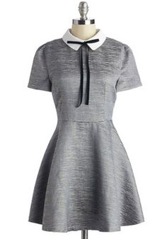 Dazzling at Dinner Dress. Everything about this date has been picture perfect - from your sweeties wine selection to your pewter-hued dress, shimmering in the low light! #grey #modcloth