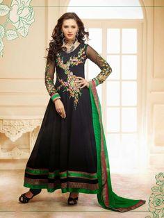 Georgette Black Embroidered Unstitched Long Anarkali Suit at Rs 2690