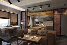Квартира в стиле лофт для молодого парня. - 3D-проекты интерьеров в стиле лофт   PINWIN - конкурсы для архитекторов, дизайнеров, декораторов
