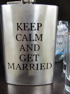 Looking for a gift for the bride or groom? This is an adorable flask. Customize it to say whatever you would like! Perfect for the wedding gitters! #flask #keepcalm #getmarried #marriage #giftidea #pinkys #pinkysplace